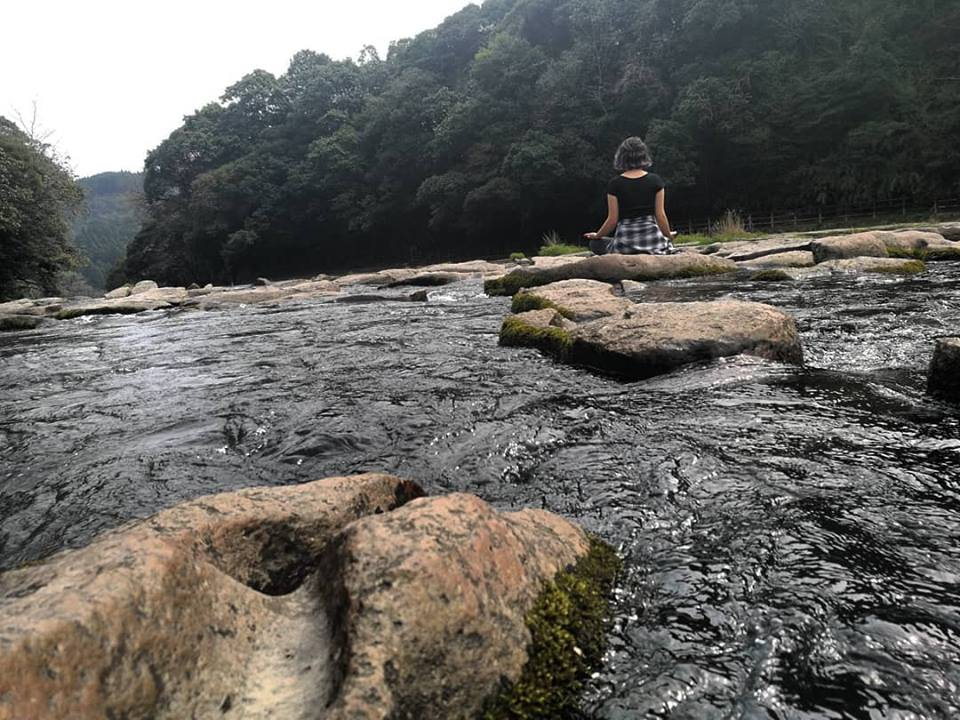 outdoor yoga healthy active meditation river japan miyazaki